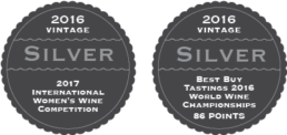 2016 Vintage - Silver - 2017 International Women's Wine Competition; 2016 Vintage - Silver - Best Buy Tastings 2016 World Wine Championships, 86 Points
