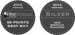 2015 Vintage - Wine Enthusiast Magazine - 86 Points Best Buy, 2014 Vintage - Silver - 2016 Sommelier Challenge
